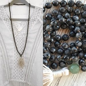 Gemstone Mala, Tassel Necklace, labradorite